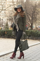 crimson leather Bebe boots - gray flea market hat - forest green Zara blazer