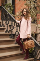 pink wool sweater - crimson Forever 21 boots - light pink wool Zara coat