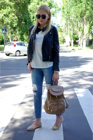 blue romwe jeans - camel OASAP bag - white EliteFashion99 blouse