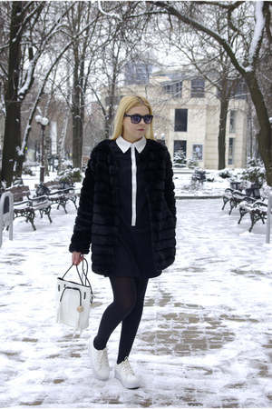 white blackfive bag - black Sheinside dress - black Chicwish coat