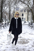 white blackfive bag - black Sheinside dress - black Chicwish coat
