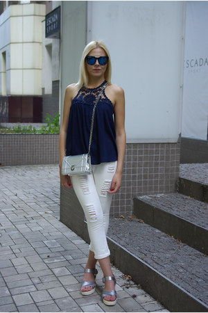 blue zaful sunglasses - white shein jeans - silver GAMISS bag