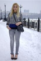 blue Frontrowshop jumper - silver Stradivarius jeans - black Sheinside jacket
