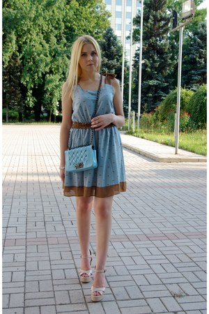 sky blue Dressgal bag - sky blue asos dress - white Dressgal bracelet