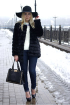 black Chicwish coat - blue Forever 21 jeans - black Frontrowshop hat