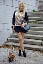 black asos boots - black afwshop bag - black Sheinside shorts