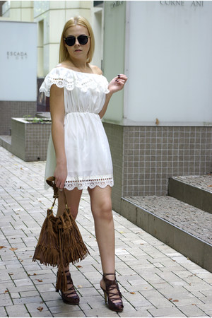 white CNdirect dress - brown DressLink bag