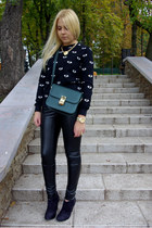 black asos boots - yellow Choies necklace - black asos pants