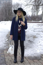 white blackfive bag - black blackfive boots - navy Sheinside coat