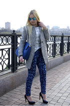 blue eastclothes bag - heather gray Sheinside coat - white eastclothes shirt
