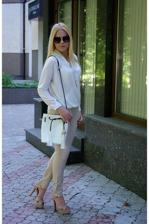 white blackfive bag - black OASAP sunglasses - white Sheinside blouse