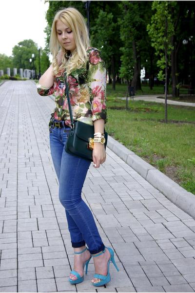 green asos blouse - sky blue new look heels