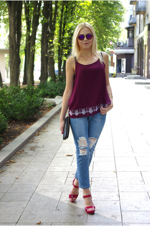 brick red zaful top - blue romwe jeans - hot pink Newdress sunglasses