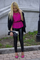 hot pink aupie top - black Sheinside coat - black chicnova bag