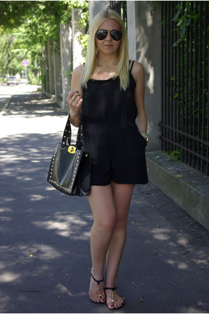 black tbdress bag - black Rosewholesale sandals - black Sheinside romper