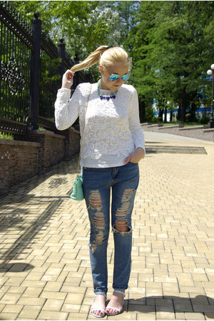 white Chicwish blouse - blue Sheinside jeans - aquamarine sammydress bag