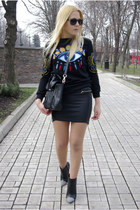 black persun bag - black Sheinside sweatshirt - silver BangGood ring