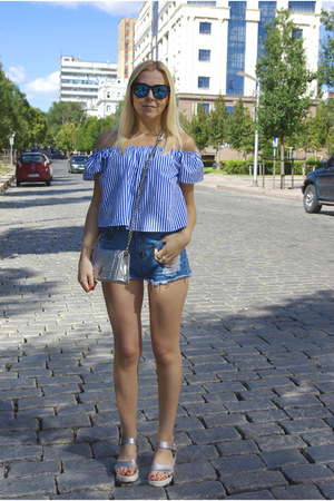 blue GAMISS shirt - silver GAMISS bag - blue shein shorts
