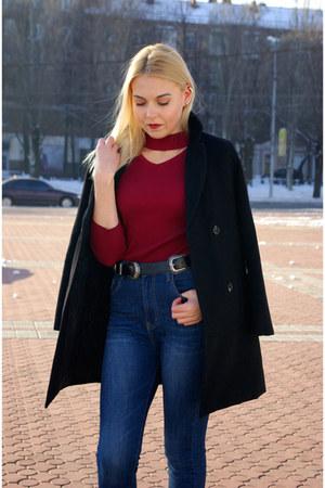 black Zara boots - black OASAP coat - navy StyleWe jeans