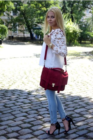 white Sheinside blouse - ruby red Chicwish bag