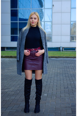 crimson dresslily skirt - black zaful boots - heather gray shein coat