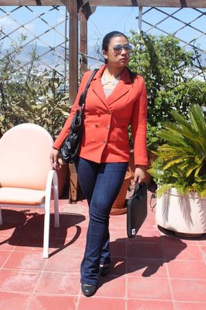 black Ray Ban glasses - carrot orange H&M blazer - navy Bershka pants