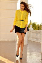 yellow Personally Designed blouse - black Schutz shoes - black BGN dress