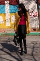 hot pink neon H&M sweater - yellow BSK coat - black leather H&M skirt