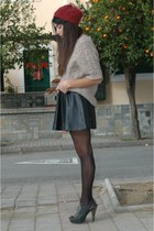 beige wool Mango sweater - black leather skirts H&M skirt - black Migato heels