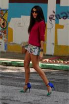 Zara heels - hot pink neon H&M sweater - floral print Zara shorts