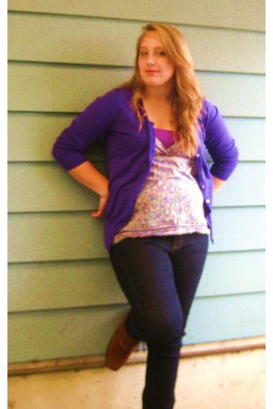 blue Forever 21 jeans - brown Minnetonka boots - purple Old Navy cardigan - pink