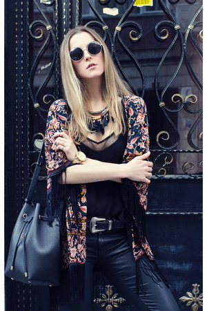 black feathers zaful necklace - ruby red chiffon Sheinside jacket