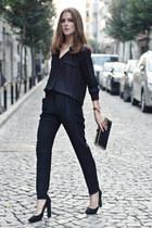 black chiffon Mango blouse - black Mango pants