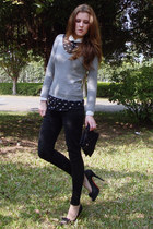 gray pull&bear sweater - black dotted silk Zara blouse