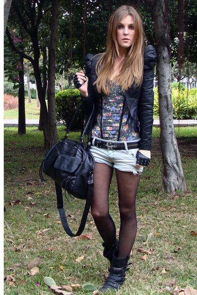 black biker boots Miss Sixty boots - black Bershka bag
