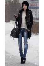 black studded Berhka boots - black leather Zara coat - blue studded Berhka jeans