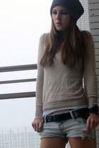pull&bear sweater - Stradivarius shorts - Miss Sixty belt