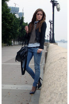 blue Zara jeans - light brown H&M sweater - charcoal gray Stradivarius heels