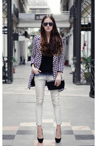 black houndstooth Sheinside coat - black vintage wowvintage sunglasses