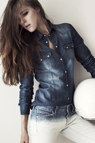 navy denim Bershka shirt