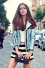 Sky-blue-leather-jacket-boda-skins-jacket-black-striped-black-five-shorts