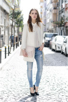 white chic Sheinside coat - light pink clutch Givenchy bag