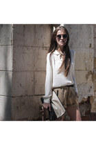 beige two toned nowIStyle bag - white chiffon nowIStyle blouse