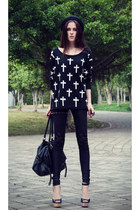 black cross print nowIStyle sweater - black Zara heels