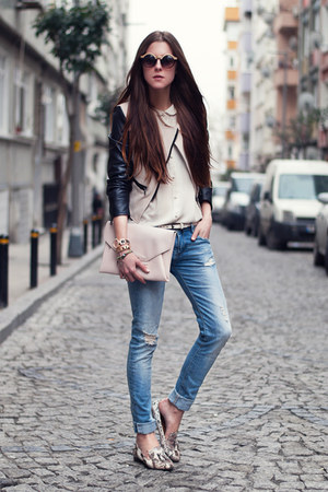 ivory leather sleeve Sheinside jacket