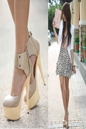 tan H&M shoes - eggshell Stradivarius jacket - light pink bag