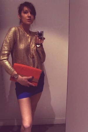gold sweater - carrot orange bag - blue H&M skirt