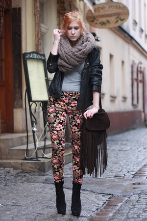 brown floral print Topshop pants