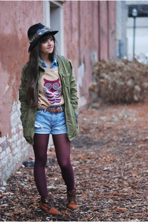 dark brown Forever 21 boots - forest green army Forever 21 jacket