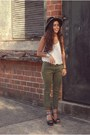 Off-white-charlotte-russe-shirt-army-green-gap-pants